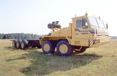 Серийный образец специального колёсного шасси БАЗ-69096, разработанный на базе семейства Вощина-1, колёсная формула 10x8.1, 1998-2004 гг.