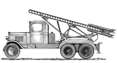 16-зарядная пусковая установка М-13 на шасси ЗИС-6. В послевоенных документах этой пусковой установке присвоено обозначение БМ-13. 1941-1942 годы